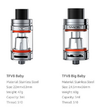 The middle child of the TFV8 tank series, the Baby Beast has a larger 5ml tank capacity and is 24.5mm in diameter, it's just right -like Goldilocks! It uses the same coils as the smaller TFV8 Baby Beast and is perfect for someone who wants the larger juice capacity and wider diameter of the TFV8 Cloud Beast but in a more compact package. The Big Baby Beast also retains the wide bore delrin drip tip, and includes an adapter for use with standard 510 drip tips. Like the rest of this series of tanks, the Big Baby Beast features a hinged, sliding top fill mechanism for easily topping off the juice reservoir. The dual airflow slots are 2mm wider than the baby beast, increasing the total airflow when wide open. Included is a rebuildable deck and an extended replacement glass that needs to be installed for use with the taller rebuildable deck (the deck can not be used on the Baby Beast due to the taller coil).