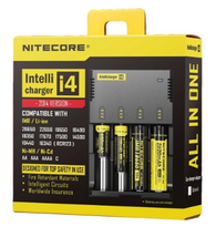 The ever popular Nitecore i4 Intellicharger. Able to accommodate four batteries of varying sizes and chemistries.