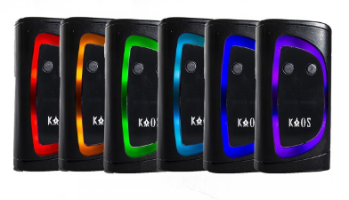 Kaos (Sigelei) $65 - The Sigelei KAOS Spectrum Box Mod is the newest dual 18650 powered flagship from the legendary creators of the 213, featuring a 10 to 230W output range, preheat power, and a TFT color screen. Featuring a classic vertical based chassis, the KAOS Spectrum integrates a LED lit bezel surrounding the 0.96 inch TFT screen, and can be set via six color options or completely disabled if desired. Inside, Sigelei has implemented a new dual 18650 battery powered (sold separately) chipset within the KAOS Spectrum with an output range of 10 to 230W, full temperature control functionality, and advanced preheat control. The KAOS Spectrum's battery access door is positioned at the base of the device, with a hinged locking mechanism for additional security. Onboard charging is among the top of it's class, with a maximum charge rate of 2.5A that allows for minimal down time. The 0.96 inch TFT Color Screen is arranged in a three column layout with essential output data along with individual battery life indicators. The chassis is constructed from high grade Zinc Alloy for a good balance of weight and durability, and is accented with soft touch leatherette for comfort during handling. Offering power, sophistication, and great build quality, Sigelei's KAOS Spectrum Box Mod is the current must have flagship box mod from one of the industry's most respected manufacturers.