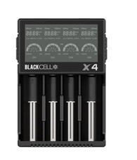 The Blackcell X4 Charger is compatible lithium batteries ranging in size from 10440 to 26650(18650, 18350, 17500, 18500, 16340 etc.) as well as Ni-MH, Ni-Cd, and LiFeO4 batteries.  Features: Dimensions: (L) 144mm x (W) 102mm x (H) 37mm Input Voltage: 12V/2A Output Voltage: 1.42v, 4.2±0.05v, 3.65±0.05v Output current: 0.5A / 1A Constant Charging Voltage Cutoff Current: <100mA External Power Source Standby Current: <15.0mA