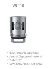 TFV8 T10 Coils 0.12 ohm $7.50 individual 22.50 3 pack 0.12ohm 50-300w best 130-190