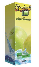 Tropical 100 - Apple Pearadice - Smooth and refreshing blend of sour green apple and candy pear. 75/25 100ml