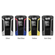 "Vaporesso Switcher 220W TC Starter Kit - Vaporesso introduces their Switcher 220W TC Starter Kit with OMNI Board 2.6, NRG Sub-Ohm Tank and a revolutionary replaceable chassis case design. The Switcher Kit's OMNI Board 2.6 is Vaporesso's newest chipset that features graphical virtual keys, an ""unlock"" button, puff number statistics, and high power protection function-- all in a simple to use interface. The Switcher has a 5 to 220W output range, a 0.05 to 5.0 ohm atomizer resistance range, and several output modes, two of which include: Customized Curve of Wattage (CCW) and Customized Curve of Temperature (CCT), giving the device much functional versatility. The Switcher is powered by two high amperage 18650 batteries (sold separately) which can be accessed via the hinge-and-lock battery door. A 0.96 inch OLED screen displays essential information to the user, such as: wattage/temperature, atomizer resistance, individual battery life display, and also has a Real Time Clock (RTC) display. The Switcher is a unique device in the sense that the chassis can be interchanged with other cases (sold separately) so the user can switch device colors. Included with the Switcher 220W TC Starter Kit is the NRG Sub-Ohm Tank which features a slide to fill top fill capability and can hold up to 5ml of your favorite E-Liquid. The NRG Sub-Ohm Tank utilizes the GT Coil Family and includes a 0.15 ohm GT 4 coil head and a 0.15 ohm GT 8 coil head. The GT 4 coil head is a dual vertical coil, rated for 30 to 70W while the GT 8 coil head is a quadruple vertical coil, rated for 50 to 110W. Airflow enters the NRG Sub-Ohm Tank via dual adjustable bottom airflow that is fully closeable, has an extra heating insulation layer, and a proprietary 14mm bore delrin mesh drip tip that prevents spit back. Vaporesso's Switcher 220W TC Starter Kit is a top contender on the market today!"
