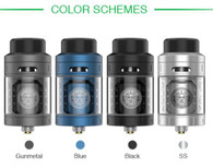 The GeekVape Zeus RTA is a 25mm diameter, leak proof, and single coil build deck. The build deck features a two post design with a single 3mm terminal per post and has large 5mm by 4mm wicking slots. Inside the Zeus implements a three dimensional airflow platform and utilizes several airflow channels for optimal flavor. The Central Internal Airflow uses a 6mm air slot while a side internal airflow utilizes nine, 1mm in diameter air holes. Airflow enters the Zeus through dual 10mm by 3mm located on the top of the atomizer. An 11mm tapered bore delrin, an 810 fitted drip tip, a 510 drip tip, and a 510 drip tip adaptor is included with the RTA. Juice enters the Zeus through a quarter turn top fill system and can hold up to 4ml of your favorite E-Juice. Under the top cap is a silicone ring to prevent your leaking. The Zeus by GeekVape is a great choice for any Vapers who enjoy easy to build decks, great cloud production, and flavor.