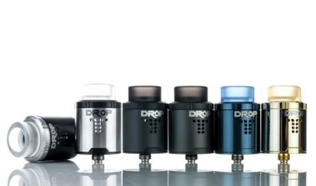 """DigiFlavor and The Vapor Chronicles introduce their Drop RDA, a 24mm, four post rebuildable atomizer with a gold plated built deck and stepped airflow design. Each of the four posts house a single 3.5mm terminal, which allow for easy coil placement and maximum build space with open access to trim excess. Airflow enters the drop through a """"T"""" shaped airslot fitted with 10 air holes per side and can be fully closed. The Drop RDA comes with a pair of 810-fitted wide bore drip tip and a 510 drip tip adapter for a fully customizable experience. The gold-plated 510 connector can be switched out to a squonk-ready 510 pin to use with any of your preferred Bottom Feed devices. The Drop RDA by DigiFlavor and The Vapor Chronicles displays true versatility and customizability in today's market."""
