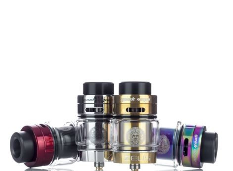 The GeekVape Zeus Dual Coil RTA is the upgrade to the amazing Zeus 25mm Leak Proof RTA, featuring a 26mm diameter, leak proof technology, and the capabilities of either a single coil or dual coil build deck. The build deck features a postless design with four 3mm terminal and a large 5mm by 4mm wicking slots. Inside the Zeus is a three dimensional airflow platform and utilizes several airflow channels for optimal flavor. The Central Internal Airflow uses a 6mm air slot while a side internal airflow utilizes a sloped airflow design. Airflow enters the Zeus through dual 10mm by 3mm located on the top of the atomizer. An 11mm tapered bore 810 delrin drip tip, a 510 drip tip, and a 510 drip tip adaptor is included with the RTA. Juice enters the Zeus through a quarter turn top fill system and can hold up to 4ml with the standard edition, and 5.5ml with the bubble glass section. of your favorite E-Juice. Under the top cap is a silicone ring to prevent your leaking. The Zeus by GeekVape is a great choice for any Vapers who enjoy easy to build decks, great cloud production, and flavor.