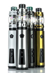 The iJoy Saber 100W Starter Kit is a single 20700 battery device with the IWEPAL Chip and the stylish iJoy Diamond Sub-Ohm Tank. The Saber has an output range of 5 to 100W and atomizer resistance of 0.05 to 3.0 ohm. The Saber utilizes a 20700 battery but can also use an 18650 battery with the included adapter. The OLED display screen shows the output power, output voltage, atomizer resistance, and the single battery capacity. The device is controlled through a three button interface: a single oversize firing button and two adjustment buttons. The battery is held in with a bottom screw cap. The IWEPAL chip has a host of protective measures like short-circuit protection, low-power protection, and reverse polarity protection. The included iJoy Diamond Sub-Ohm Tank is 26.5mm in diameter and has a 5.5ml juice capacity with the pre-installed bubble glass. There is an included spare glass with 4.0ml juice capacity. The Diamond Sub-Ohm Tank is compatible with the X3 coils and the new DM Coil Family. The included DM-Mesh and DM-DM Coils use a blend of 70% / 30% flax fiber and wood pulp blend. The dual juice fill ports can be accessed by an easy quick screw cap. The Diamond Sub-Ohm Tank also has a dual adjustable bottom air ports. The iJoy Saber 100W Starter kit is a sleek, portable, and simple package for beginners that want a quick start into vaping.