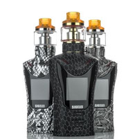 The Sigelei Sobra 198W TC Starter Kit consists of a cobra shaped box mod capable of 10 to 198W output and a 24mm matching sub-ohm tank. The Sobra is manufactured out of a combination of Zinc alloy, Brass and PC+ABS, presenting a lightweight base chassis reinforced with heavier zinc alloy. The Sobra features an expanded output range of 10 to 198W, with a 0.05 to 3.0 ohm atomizer resistance range. Alongside standard power based output, the Sobra is also capable of extensive temperature controlled output that supports Nickel, Titanium, and multiple Stainless Steel materials. The Sobra also expands on the incorporation of both TCR (TCR Mode now calculated in Celsius) with a 5 Coil Memory bank, greatly extending precision and customization. The inclusion of power preheat, in which a user set wattage and time dials output to ramp or decrease appropriately, and a temperature compensation mode that can compensate for fluctuations in temperature, combine to create one of the most sophisticated output capabilities available today on market. The Soba integrates a 1.3 inch OLED color screen that features an expanded three column display matrix that provides an amount of essential data at a glance, from detailed battery state and battery life meters to output voltage, resistance, and wattage. Two adjustment buttons are positioned on the botton of the OLED screen making it economically feasible to use and adjust the Sobra single handedly. The Sobra is powered by dual high amperage 18650 (sold separately) batteries which are housed through a bottom latch battery access door. The Sobra Sub-Ohm Tank is 24mm in diameter, and uses a threaded top cap for easy refilling and is compatible with the entire MS coil line. The Sobra Sub-Ohm Tank has a juice capacity of 5.5ml and has dual bottom adjustable airflow. With an expanded output and a aggressive chassis with a matching tank. The Sigelei Sobra 198W TC Starter Kit is a rejuvenated platform built to compete with the best that the current market has to offer.