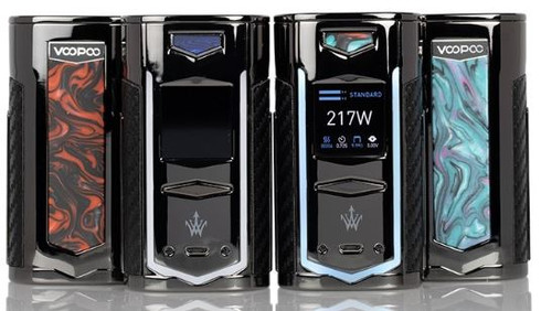The VOOPOO X217 217W TC Box Mod is a collaborative effort with Woody Vapes to create a superlative vape device, integrating the fast-firing GENE.FAN Chip with dynamic power output modes all within a visually stunning design with LED Light-Up features.