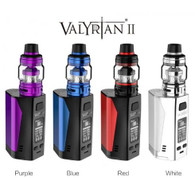 Uwell Valyrian II Kit  E V O L U T I O N   O F   R E V O L U T I O N .  Introducing the Valyrian II Kit from Uwell, a triple 18650 battery mod with a max wattage of 300W. This kit features the fantastic Valyrian II Tank, a hand polished tank that is the newest generation of flip-cap design. Just one press to fully open the top cap makes it so much easier to add juice.  Tank Specifications:  Material: Stainless Steel & Pyrex Glass  Size: 29mm x 60.6mm  Net Weight: 70g  New Meshed Coils for flavor and huge clouds:  0.32Ω Single Coil 0.14Ω Dual Coil 0.16Ω Triple Coil 0.15Ω Quadruple Coil Capacity: 6mL  Thread: 510  PATENTED SELF-CLEANING TECHNOLOGY - Valyrian II atomizers can absorb the e-juice in the condensation holder through regular usage and vaporize it. It reduces juice leakage and lessens the cleaning frequency.   OPTIMIZED FLIP CAP DESIGN - One press to fully open the cap, easier to refill.  EXCLUSIVE PRO-FOCS FLAVOR TESTING TECHNOLOGY - Pro-FOCS Favor Testing Technology provides vapers with the ultimate vaping experience by properly controlling the heating temperature, strictly managing the material quality, and completely restoring the e-juice flavor.  Mod Specifications:  Material: Zinc Alloy, PC+ABS & Stainless Steel  Size: 49mm x 41mm x 74mm  Net Weight: 148g  Power Range: 5-300W  Standby Current: <100uA  Voltage Range: 0.7-10V  Resistance Range: 0.1-3Ω (VW) 0.1-1Ω (TC)  Temperature Range: 200-600°F / 100-315°C  TRIPLE THE POWER - Compact triple battery mod - looks elegant, feels comfortable. Three 18650 batteries give the kit a maximum 300W output. Give more possibilities to the cloud chaser. Each cell has a separate battery chamber, makes the mod even more safe to use.   NEXT-GEN CIRCUIT BOARD DESIGN - New PCBA offers reliable performance and fast firing capabilities. It is also more dust and corrosion resistant, prolongs the product life, and protects user safeties.   Kit Includes:  1 x Valyrian II Tank  1 x Valyrian II Mod  1 x UN2 Single Meshed 0.32Ω Coil (pre-installed) (90-100W)  1 x UN2-2 Dual Meshed 0.14Ω Coil (80-90W)  1 x Pack of O-Rings  1 x Spare Glass Tube  1 x Drip Tip Cover  1 x Micro USB Cable  2 x User Manuals