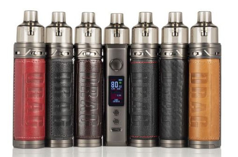 Drag X Pod Mod Kit, featuring a single 18650 battery (sold separately), PnP Coil Series & RBA, and a GENE.TT Chipset to regulate and grant functionality.  DRAG S 60W Pod Mod Kit, featuring a 5-60W range, 2500mAh Battery, 4.5mL pod capacity, and compatibility with the PnP coil series.