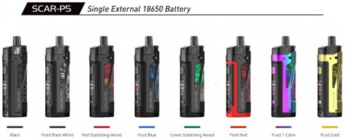 SmokTech SCAR-P5 Kit  I N S P I R E   T H E   S C A R   P O W E R S .  Distilling the essence of existing pod mods, SCAR Series comes with two options; the SCAR-P3 and the SCAR-P5, which are both designed to be waterproof, dust-proof, and shock resilient, elevating the pod mod to a whole new level of performance and user experience. The kit comes standard with two pods and two coils; one is the RPM 2 Pod that is compatible with the RPM2 Mesh 0.16Ω Coil and is designed to chase the best flavor. The other is the RPM Pod which is compatible with all RPM Series Coils.  Innovation keeps changing the vaping experience!   Single External 18650 Battery  New RPM2 Mesh Coil  Push-Pull Battery Cap  SOPHISTICATED DESIGN IN AND OUT - The 100g light body is meticulously designed to be portable and user-friendly. Its compact design contributes a stylish and delicate look, while the leather and zinc alloy frame that wrap the body ergonomically fit your hand. Leather and metal compliment each other, undoubtedly a new fashion and perfect fusion.  SPLASHES, SPRAYS, SPILLS? NO WORRIES - The SCAR-P5 is waterproof and can withstand water immersion between 15 cm and 1 meter for 30 minutes. It is also dust-proof (IP67) and shockproof to prevent dust ingress and accidental dropping.  ADJUSTABLE POWER 5W-80W - The maximum power of the SCAR-P5 is 80 watts. Within the power range 5W to 80W, press the UP/DOWN button to adjust the required power and get the preferred effect.  POWERED BY A REPLACEABLE SINGLE 18650 BATTERY - An external single 18650 battery provides long-lasting power for the entire device. The battery cap is push-pull for easier battery replacement.  Specifications:  Size: 117.6mm x 35.8mm x 28mm  E-Liquid Capacity: 5mL  Weight: 101.5g (without battery)  Battery: requires a single 18650 battery (not included)  Standby Current: <100uA  Input Voltage: 3.3V-4.2V  Output Voltage: 0.5V-4.0V  Output Wattage: 5W-80W  Resistance Range: 0.15Ω-2.5Ω  Charging Voltage: 5V±0.2V  Charging Curr
