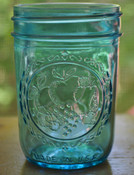 "Blue embossed mason jar soy candles, made in USA, 8 ounce ""jelly jars"""