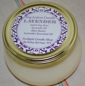 Soy Lotion Candle, massage candle with lavender essential oil, bamboo spoon included