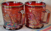 wedding gift idea, Vintage Imperial Red Robin Carnival Glass Cups (set of 2), custom poured as soy candles