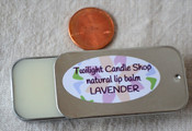Natural lavender lip balm in old-fashioned sliding tin