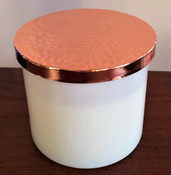 Twilight large white glass soy candle, hammered copper tone lid, two wicks
