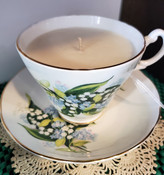blue and white lilies teacup soy candle, peppermint scented, Royal Stuart china