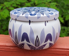 Blue and White:  Vanilla Rum scented soy candle tin