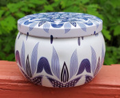 Blue and White:  Witch's Brew scented soy candle tin