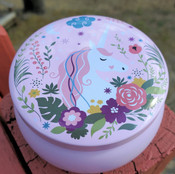 Unicorn:  Cherry Blossom scented soy candle tin