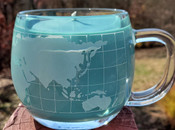 Globe vintage cup, Peace on Earth soy candle, scented with Blue Spruce