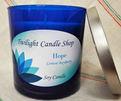 Twilight royal blue soy candles with holiday messages of Comfort, Hope, Joy, and Peace