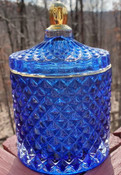 Royal Blue Jewel Jar luxury soy candle, Fountain of Youth scent, reusable lidded glass jar