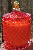 Red Jewel Jar luxury soy candle, Apple Bourbon scent, reusable lidded glass jar
