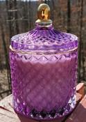 Purple Jewel Jar luxury soy candle, Lilac scent, reusable lidded glass jar