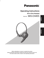 Panasonic Attune WX-CH455 Operating Instructions - NEW All-in-One Headset
