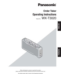 Panasonic Attune WX-T3020 [OT] Order Taker Belt Pack Operating Instruction Manual