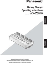 Panasonic Attune WX-Z3040 Battery Charger Operating Instruction Manual