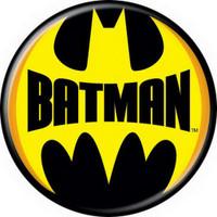 DC Comics Batman Words Logo Yellow Button 82015