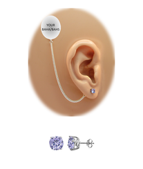 CZ Stud Earring (5 mm) - Tanzanite - Sterling Silver Chain