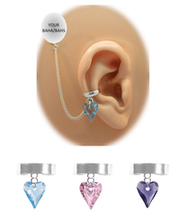 """Solid Band - 1/8"" Ear Cuff"" with Swarovski Crystal Heart - Sterling Silver Chain"