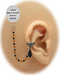 """Black Solid Band - 1/8"" Ear Cuff"" with Swarovski Crystal Teardrop - Halloween Edition"