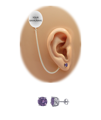 CZ Stud Earring (5 mm) - Amethyst - Sterling Silver Chain