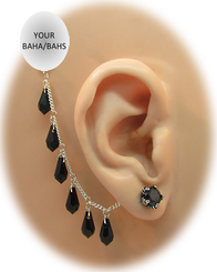 Black CZ Claw Earring (7 mm) - Swarovski Black Teardrop Chain