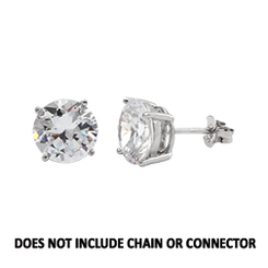 CZ Stud Earring (5 mm) - Clear - Sterling Silver