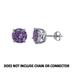 CZ Stud Earring (5 mm) - Amethyst - Sterling Silver