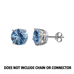 CZ Stud Earring (5 mm) - Aquamarine - Sterling Silver