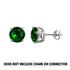 CZ Stud Earring (5 mm) - Emerald - Sterling Silver