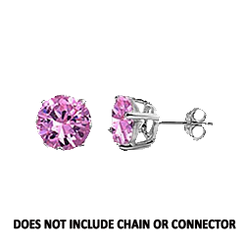 CZ Stud Earring (5 mm) - Pink - Sterling Silver
