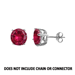 CZ Stud Earring (5 mm) - Ruby - Sterling Silver