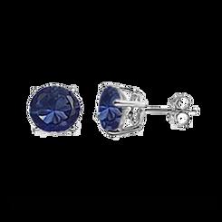 CZ Stud Earring (5 mm) - Sapphire - Sterling Silver