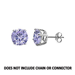 CZ Stud Earring (5 mm) - Tanzanite - Sterling Silver