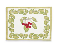 Cherry Red Green Placemats, Set of 6