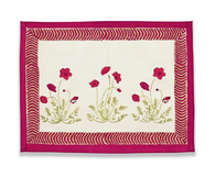 Poppies Red Green Placemats, Set of 6