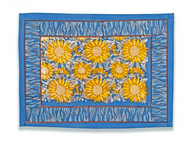 Sunflower Yellow Blue Placemats, Set of 6